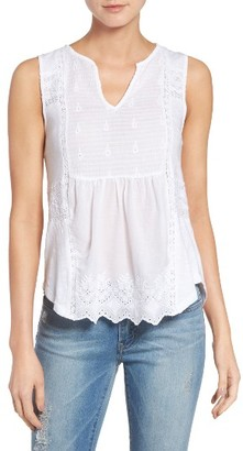 Women's Lucky Brand Mixed Media Shell $49.50 thestylecure.com