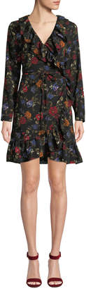 Kensie Winter Floral Ruffle Wrap Dress