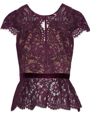 Marchesa Velvet-Trimmed Corded Lace Peplum Top