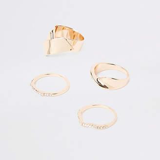 River Island Gold tone chunky rhinestone ring pack