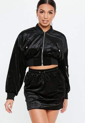Missguided Black Velvet Pocket Co Ord Jacket