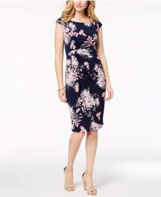 Connected Floral-Print Wrap Dress, Regular & Petite Sizes