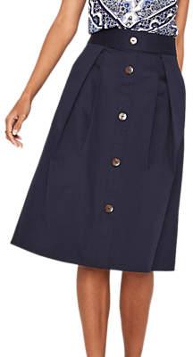 Oasis Button Through Midi Skirt, Navy