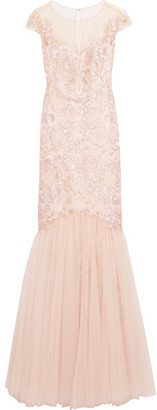 Marchesa Notte - Embroidered Embellished Tulle Gown - Blush $1,195 thestylecure.com