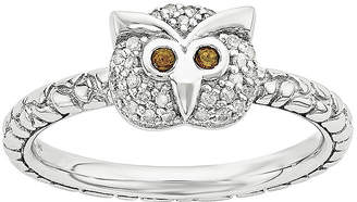 FINE JEWELRY Genuine Garnet and Diamond-Accent Sterling Silver Stackable Owl Ring
