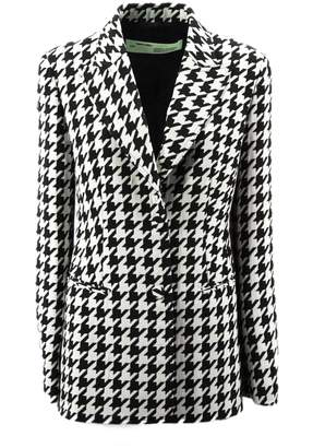 Off-White Off White White And Black Checked Jacket In Virgin Wool.