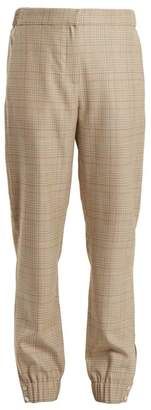 Tibi Cooper Wool Blend Checked Tapered Leg Trousers - Womens - Beige Multi