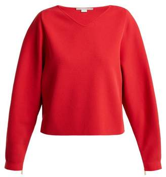 Stella Mccartney - V Neck Step Hem Fine Knit Sweater - Womens - Red