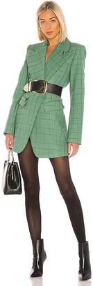 Tibi Windowpane Peaked Lapel Blazer Dress
