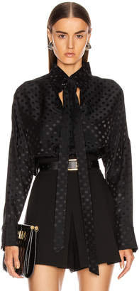 Tibi Dot Jacquard Dolman Tie Neck Top in Black | FWRD