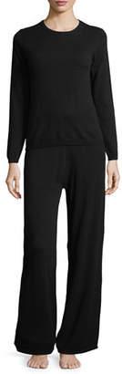 Neiman Marcus Cashmere Crewneck Sweater & Pant Lounge Set