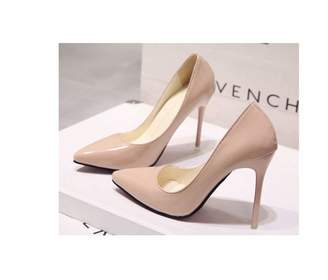 8b4e2136c0b Omgaa Acgicea Nude Color Pointed Toe high-Heeled Shoes Black Shoes Patent  Leather Blue Large