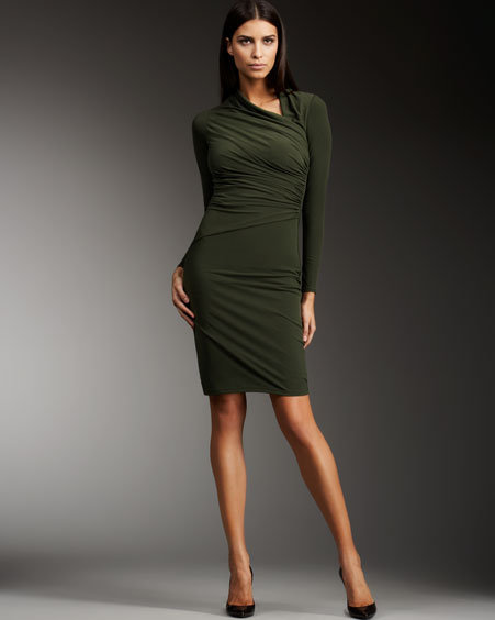 David Meister Jersey Asymmetric-Neck Dress