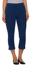 Isaac Mizrahi Live! Regular Knit Denim Pull-OnCrop Jeans