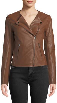 Bagatelle Collarless Smooth-Leather Biker Jacket