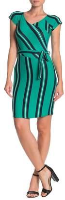 Planet Gold Striped Cap Sleeve Faux Wrap Dress
