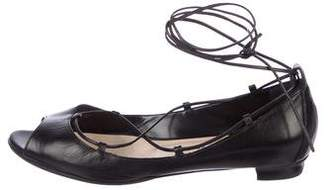 Manolo Blahnik Leather Lace-Up Flats