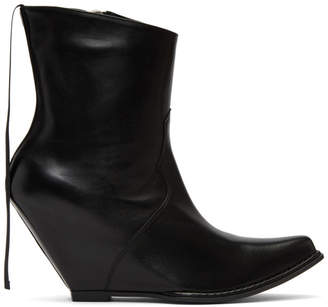 Unravel Black Leather Low Platform Boots