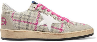 Golden Goose Ball Star Tweed, Leather And Distressed Glittered Suede Sneakers - Beige