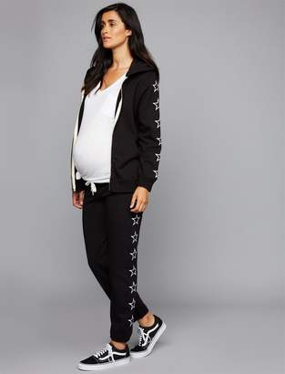 Monrow Star Embroidery Maternity Jogger Pant