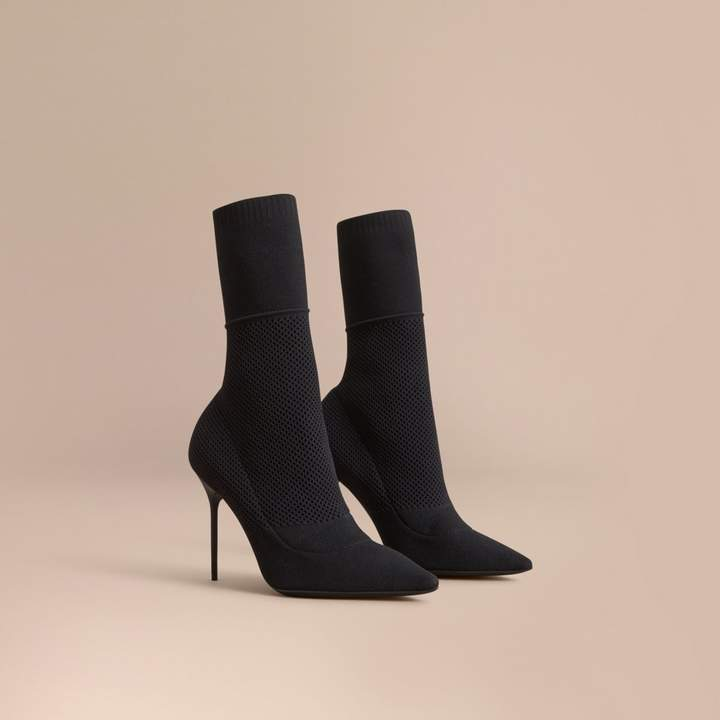 Burberry Mid-calf Knitted Mesh Boots