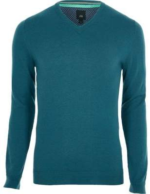 River Island Mens Teal blue cashmere blend V neck sweater