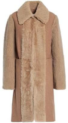 See by Chloe Shearling-Paneled Wool-Blend Coat