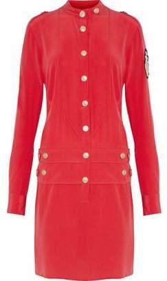 Pierre Balmain Button-Detailed Appliquéd Silk-Georgette Mini Dress