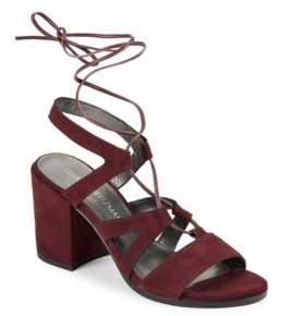 Stuart Weitzman Tiegirlbingo Suede Lace-Up Block Heel Sandals