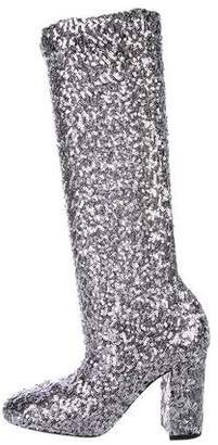 Dolce & Gabbana Stretch Sequined Boots w/ Tags
