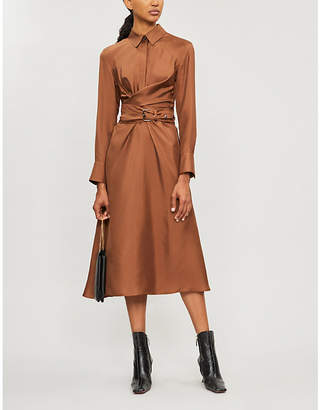 Brunello Cucinelli Draped silk midi dress