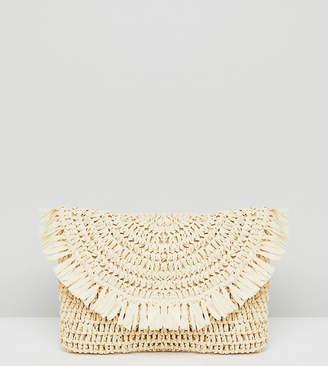South Beach Frayed Straw Clutch Bag