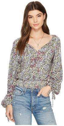 Lucky Brand Banded Bottom Peasant Top Women's Long Sleeve Pullover