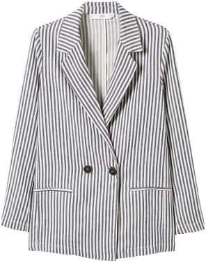 MANGO Striped linen blazer