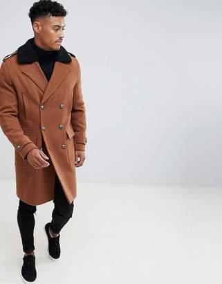 Asos DESIGN wool mix trench coat with fleece collar in tobacco