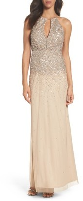 Women's Adrianna Papell Beaded Halter Gown $299 thestylecure.com
