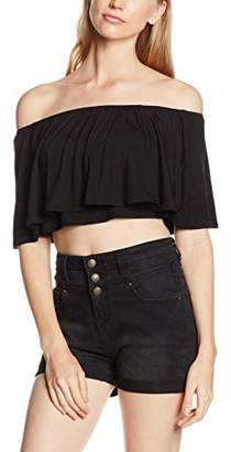 boohoo Women's Libby Off the Shoulder Frill Top