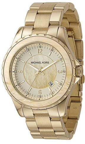 Michael Kors Horn-Style Acrylic Gold IP Stainless Steel Watch