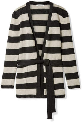 Max Mara Alea Striped Linen Cardigan - Black