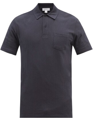 Sunspel Riviera Cotton Polo Shirt - Mens - Navy