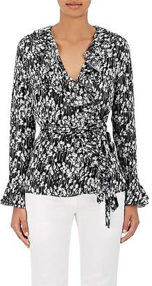 Barneys New York WOMEN'S FLORAL SILK WRAP BLOUSE