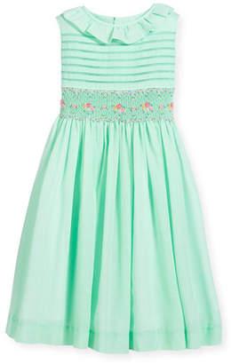 Luli & Me Smocked Ruffle-Collar Dress, Turquoise, Size 2-4T