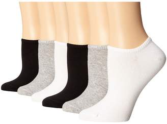 Hue Cotton Liner 6 Pair Pack Women's No Show Socks Shoes