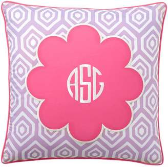 Pottery Barn Teen Mix & Match Daisy Monogram Pillow Cover, Bright Pink Center/Lavender Ground