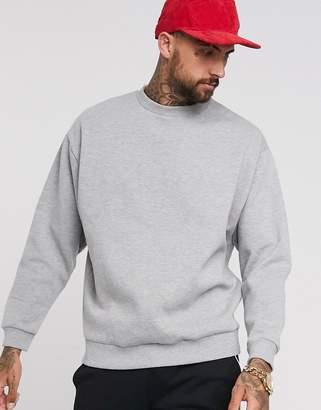 Asos DESIGN oversized sweatshirt in gray marl