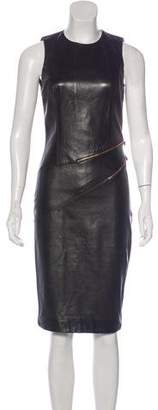 Michael Kors Zip-Accented Leather Dress
