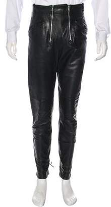 Jean Paul Gaultier Leather Quilted & Braided Pants