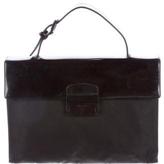 pradaPrada Tessuto & Patent Leather Handle Bag