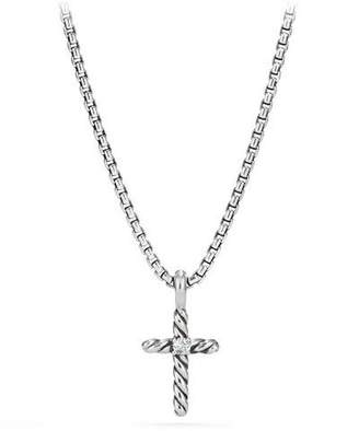 David Yurman Kid's Cable Collectibles® Silver Cross Necklace w/ Diamonds