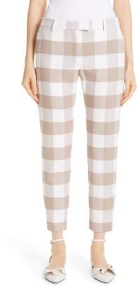 Altuzarra Gingham Stretch Wool Slim Ankle Pants